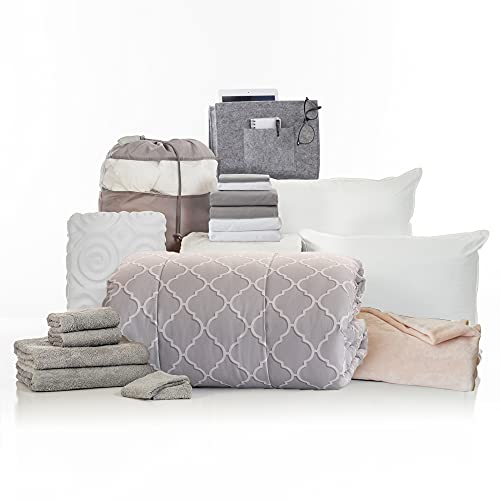 OCM College Dorm Room Essentials 20-Piece Comfort Pak   Twin XL   with Topper, Comforter, Sheets, Towels, Storage & More   Olivia Gray   Trellis Geometric, Light Gray and White