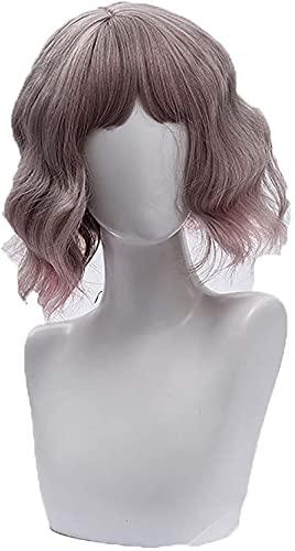 Pelucas de color amarillo rojo corto bob Pelucas longitud del hombro parte lateral de la mujer peluca corta de color sinttico Cosplay peluca para nia disfraz de Halloween, color rosa (color: rosa)