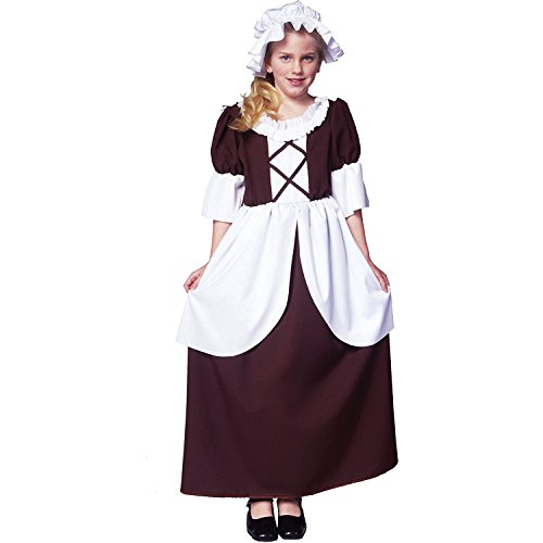 Arology Colonial Girl Child Size Costume Fabric for Comfortable Fit, Including Dress and Hat/Bonnet (Medium (8-10))
