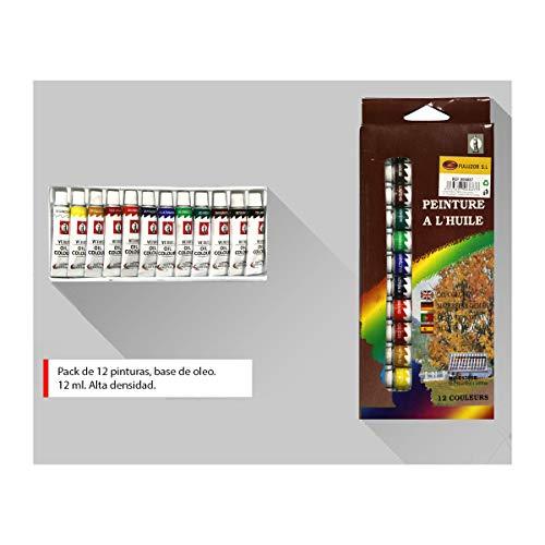 ALLPER Pack de 12 Botes de Pintura Tempera con Base de oleo/Aceite, 12 ml, Colores Disponibles en la Imagen.