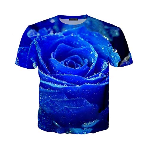 Flower Rose T Shirt Men Women Hyacinth Sweatshirt 3D Print Short Sleeve Hip Hop Streetwear Pullover 15 Asia XL