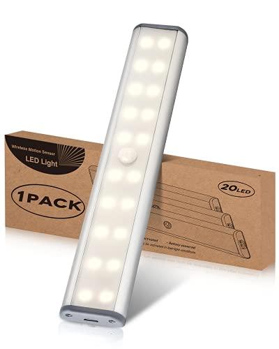 Wiederaufladbar Schrankbeleuchtung mit Bewegungsmelder, LED Sensor Licht Kleiderschrank Lampen Unterbauleiste Beleuchtung Küchenleuchte, Nachtlicht Schranklicht Auto On/Off mit Stick-On Magnetstreifen