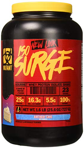 Mutant ISO Surge Whey Protein Powder Acts FAST to Help Recover, Build Muscle, Bulk and Strength, Uses Only High Quality Ingredients, 1.6 lb - Birthday Cake