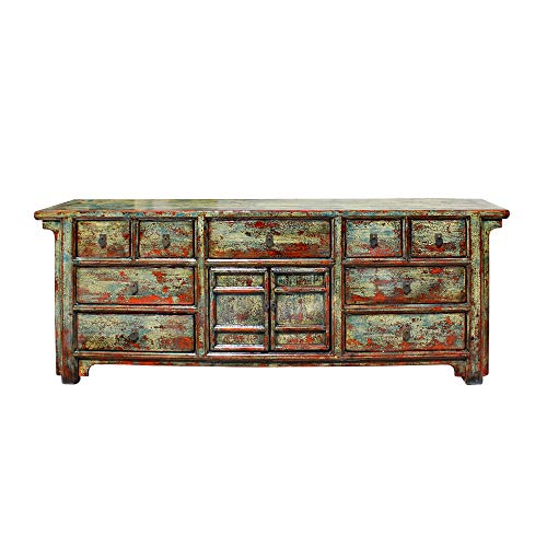 Chinese Distressed Rustic Blue Sideboard Buffet Table Cabinet Acs5752