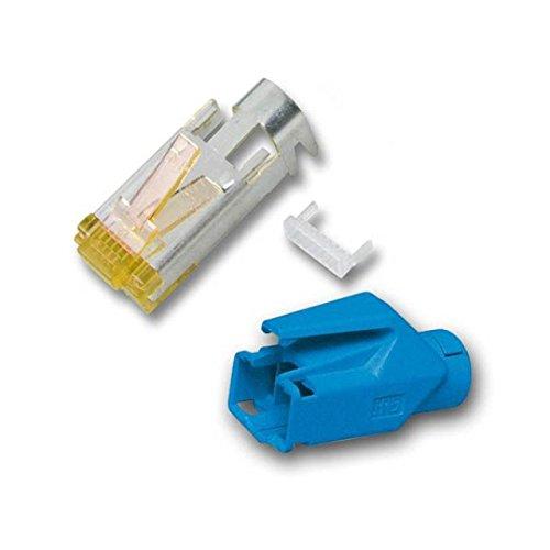 BIGtec 20 x RJ45 Stecker TM31 Hirose CAT.6a blau Crimpstecker RJ-45 Modular Plug Ethernet LAN Kabel Steckverbinder Netzwerkstecker geschirmt CAT 6a