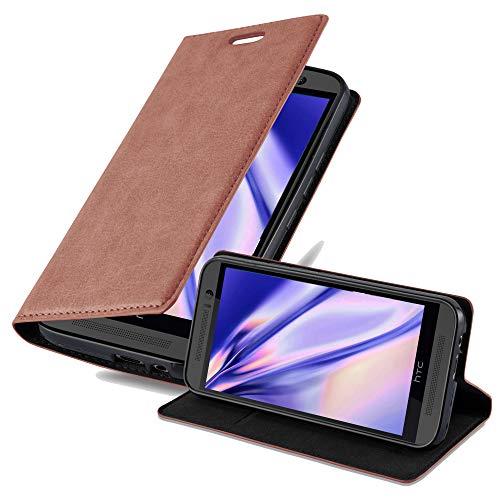 Cadorabo Hülle für HTC ONE M9 (3.Gen.) - Hülle in Cappuccino BRAUN – Handyhülle mit Magnetverschluss, Standfunktion und Kartenfach - Case Cover Schutzhülle Etui Tasche Book Klapp Style