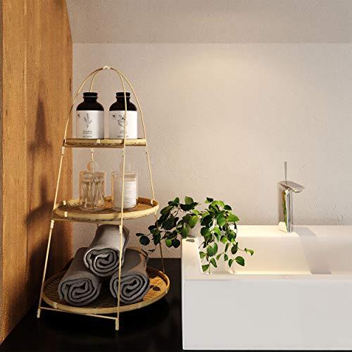 Cesta de fruta de bambú de 3 niveles, cuenco de fruta y soporte para colgar, de pie, rústica, cesta de frutas decorativa para almacenar alimentos, verduras, frutas, huevos para encimera de cocina