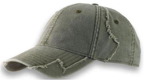 noTrash2003 Baseball Cap aus gewaschener Chino Baumwolle in Vintage (Destroyed/Distressed) Optik mit ausgefranster Patchwork Struktur in Oliv (Einheitsgrösse)