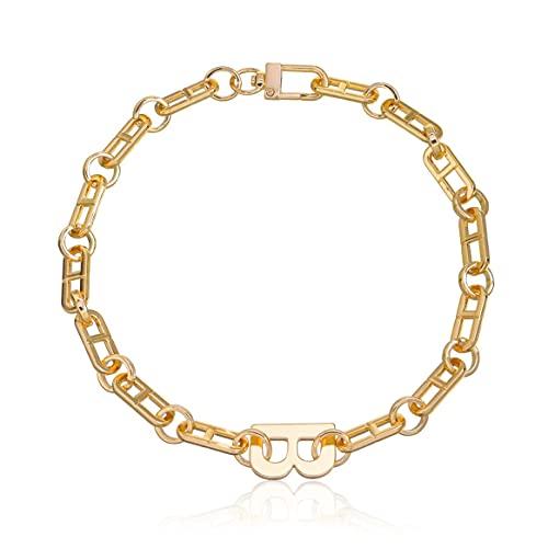 Yixikejiyouxian All Match Diseño Exagerado Letra B Colgante Borla Collar De Mujer Geométrico Hip-Hop Cadena Collares Joyas - Oro 44Cm