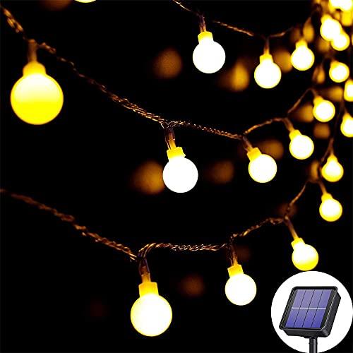 Lezonic Guirlande lumineuse solaire Extérieur 60 LED, 8M Étanche avec 8 Modes, étanche, éclairage de jardin pour jardin, Terrasse fête, Noël, décoration (blanc chaud)