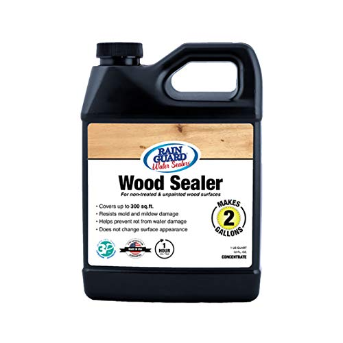 Rain Guard Water Sealers SP-8002 Wood Sealer Concentrate - Water Repellent for Interior or Exterior Wood - 32 oz Makes 2 gallons, Invisible Clear