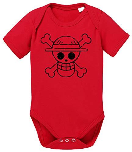 Tee Kiki Logo Bruch One Baby Piece Luffy algodón orgánico Proverbs Baby Romper para niños y niñas de 0 a 12, Größe2:74/7-9 Meses, Baby:Rojo