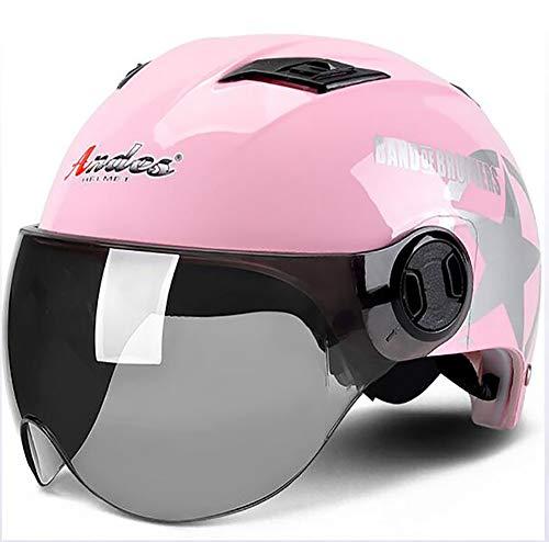 XTGFDC universele maat, zomer, open gezicht, ademend, voor heren en dames, volwassenen, jethelm, ECE-gecertificeerd, zwart, wit, roze (56-62 cm)