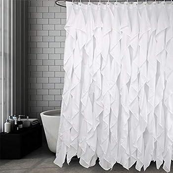 Volens White Ruffle Shower Curtain Farmhouse Fabric Cloth Curtains for Bathroom 72x72 in Long
