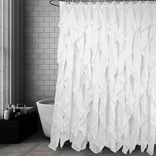 Volens Weiß Rüschen Dusche Vorhang Stoff Farmhouse Bad Vorhang, 182,9x 182,9cm Lang