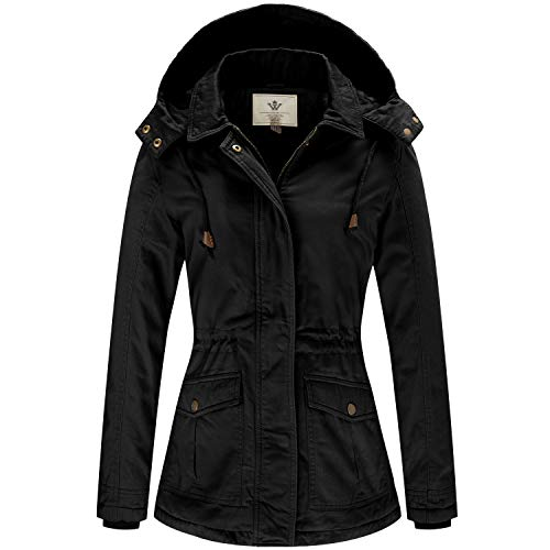 WenVen Women's Winter Military Cotton Coat Warm Hooded Parka Jacket(Black, XL)