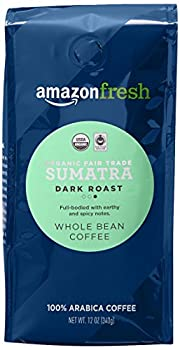 AmazonFresh Organic Fair Trade Sumatra Whole Bean Coffee Dark Roast 12 Ounce