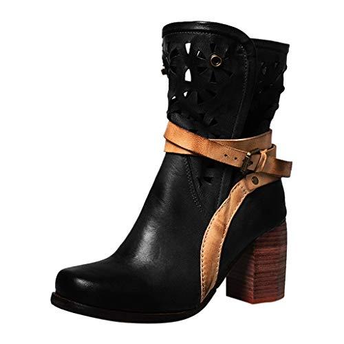 friendGG Stiefel Stiefeletten Damen Chelsea Boots Ankle Leder Blockabsatz Kurzschaft Stiefel Absatz...