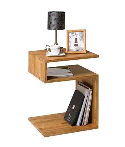 Beistelltisch Sofi, Massivholz Eiche, moderner Nachttisch, Nordischer Stil, S-Form, 44 x 44 x 62 cm (Natureiche Eiche)