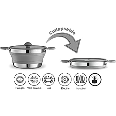 Gourmia GCP9940 3qt Collapsible Pot – Stainless Steel, Silicone and Glass Lid – For Gas and Electric Stove Cooking – Great for Outdoors, Hiking, Camping, Traveling - BPA Free