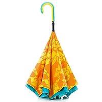 【CARRY saKASA (キャリーサカサ) CityModel】 濡れない傘 逆折り式傘 逆さ傘 逆さま傘 自立式 テフロン撥水 UV99%カット 革命傘 高耐風 (イエロー/ライトブルー 柄入り)