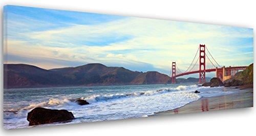 Feeby Frames, Cuadro en lienzo, Cuadro impresión, Cuadro decoración, Canvas de una pieza, 25x70 cm, EL PUENTE GOLDEN GATE, PUENTE, SAN FRANCISCO, AGUA, MONTAÑA, VISTA, AZUL, MARRÓN