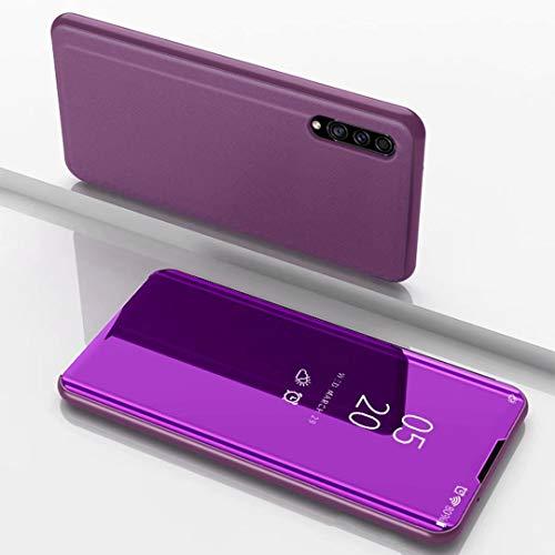 TiHen Spiegel Schutzhülle für Samsung Galaxy A8s Hülle, Smart-Fenstertasche Überzug Spiegel Flip Cover +Panzerglas Schutzfolie 2 Stück,Handyhülle Lederhülle Etui mit Standfunktion -Lila