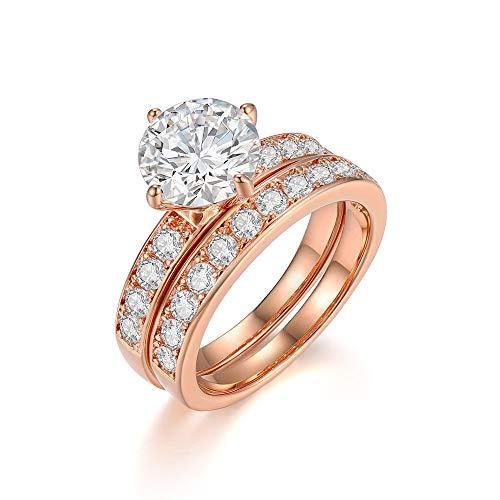 Italina Damen Solitärring Ehering Verlobungsring Bridal Set Ring aus 2 Ringe separat oder zusammen getragen Funkenden Zirkonia Steine Statement-Ring roségold plattiert 18.7mm