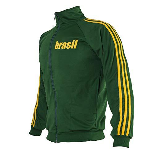 JL Sport Brasile Verde Capoeira con Zip Giacca Brasile Tuta Maglione Uomo Top rétro Design - X-Large