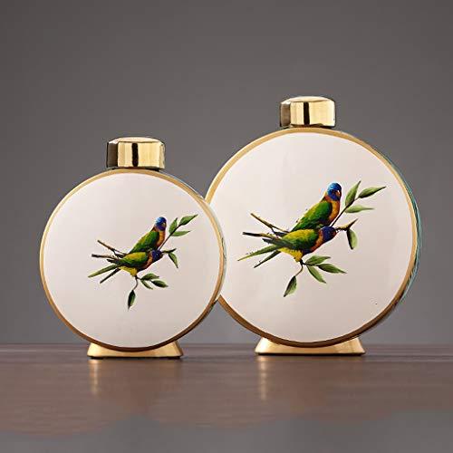 TWDYC Ceramics Vase Chinesischen Stil Mit Abdeckung Aufbewahrungsgefäß Moderne Dekoration Blumenanordnung Vasen