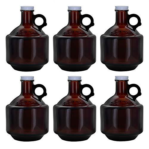 1 Liter (32 fluid ounces) Short Growler w/ 38mm White Metal Screw Cap (Set of 6)