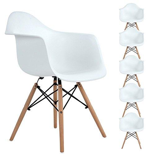 EGGREE Lot von 6 Esszimmerstuhl, Retro Stuhl Beistelltisch mit solide Buchenholz Bein - weiß