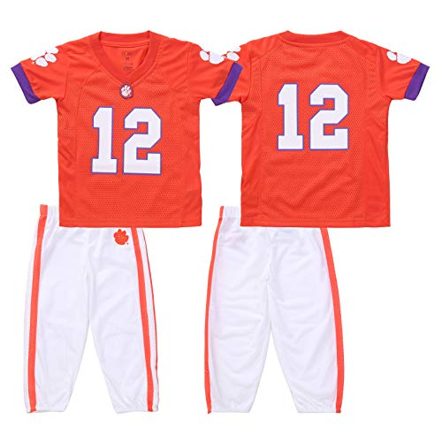 FAST ASLEEP NCAA Clemson Tigers Boys Toddler/Junior Football Uniform Pajamas, Size 2T, Orange/White