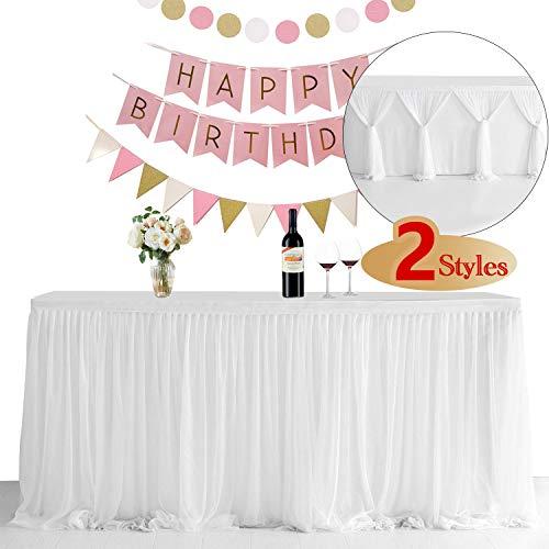 NSSONBEN Tüll Tischrock Weiß Tischröcke Tischdeko für Babyparty Mädchen, Baby Shower, Hochzeit, Geburtstag, Kindergeburtstag, Kommunion (Weiß, 3 Yards)