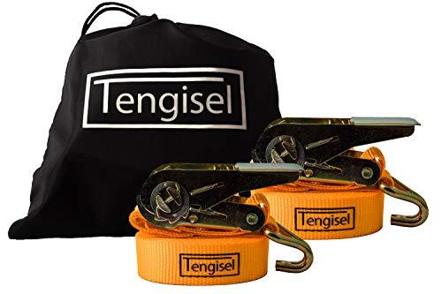 Tengisel | 2 Spanngurte mit Ratsche + gratis Tasche | 4m 25mm 250/500kg | zweiteilig mit Haken | hohe Qualität nach DIN EN 12195-2