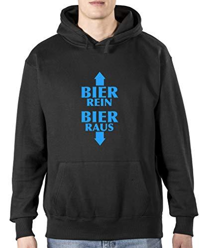 Comedy Shirts - Bier rein - Bier Raus - Herren Hoodie - Schwarz / Blau Gr. 3XL