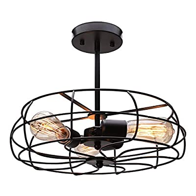 """CO-Z 3 Light Industrial Cage Ceiling Light, 15"""" Rustic Retro Wired Chandelier for Bedroom, Dining Room, Living Room, Farmhouse Lighting, ORB Finished Metal Fan Shade Pendant Lamp Fixture"""
