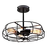 CO-Z 3 Light Industrial Cage Ceiling Light, 15' Rustic Retro Wired Chandelier for Bedroom, Dining Room, Living Room, Farmhouse Lighting, ORB Finished Metal Fan Shade Pendant Lamp Fixture