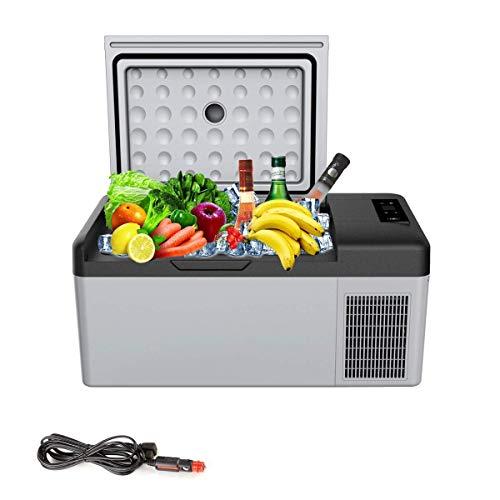 GUOCAO AC DC Mini Refrigerador portátil 15L for el Coche 24V 12V Partido Comida campestre Que acampa conducto de compresor del Coche Refrigerador Congelador Chiller Coche Refrigeradores