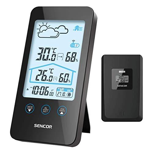 SENCOR, Schwarz SWS 3000 B Wetterstation, Unterstützt bis zu 3 Sensoren, LCD-Display mit weißer Hintergrundbeleuchtung