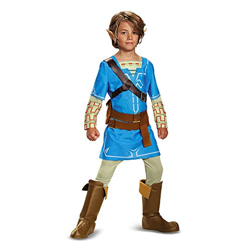 Link Breath Of The Wild Deluxe Costume, Blue, Small (4-6)