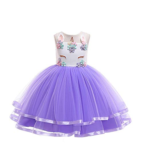 Romon Girls Tube Top Princess Dress niños Vestido de Gasa de Dibujos Animados Disfraces de Fiesta de Halloween (3~8 años)