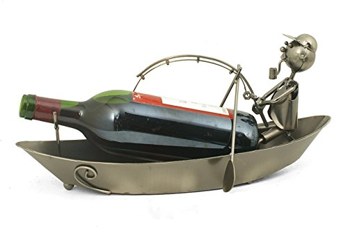 Porte bouteille design et original - Pêcheur dans sa barque - Coloris GRIS
