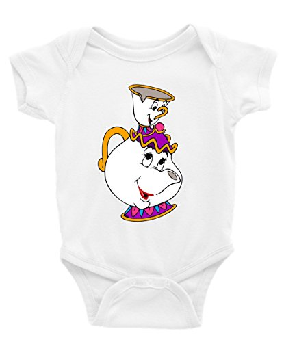 Mrs. Potts and Chip Beauty and The Beast Short Sleeve Unisex Onesie (18-24) White