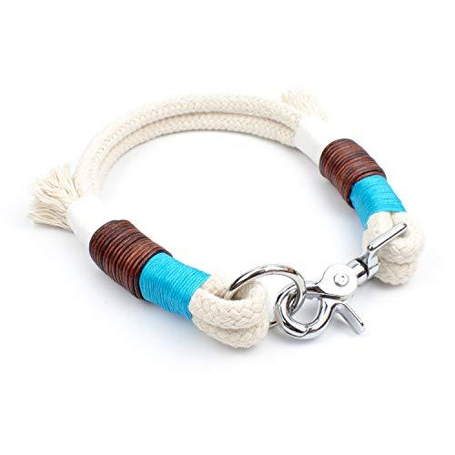 Hunde Halsband in Weiß & Türkis aus Naturtau mit feinem Vintage Leder
