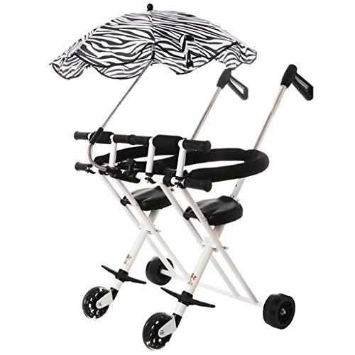 Le double tricycle de double chariot à enfants artefact se pliant léger et simple 1-5 ans