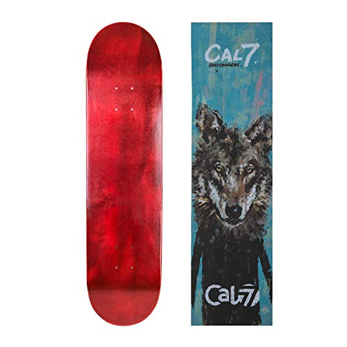 Cal 7 Red Skateboard Deck with Graphic Grip Tape (Wolf, 7.75 inch)