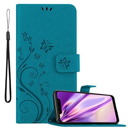 Cadorabo Hülle für Xiaomi Pocophone F1 in FLORAL BLAU – Handyhülle im Blumen Design mit Magnetverschluss, Standfunktion & 3 Kartenfächern – Hülle Cover Schutzhülle Etui Tasche Book Klapp Style