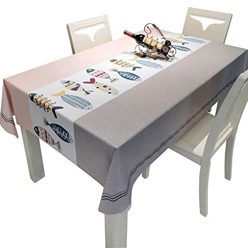 WHDJ Waterproof PVC Tablecloths Lovely Fish Cartoon,Anti-Greasy Non-Slip Table Cloth Anti-Wrinkle Soft Table Cover for Home,Restaurant