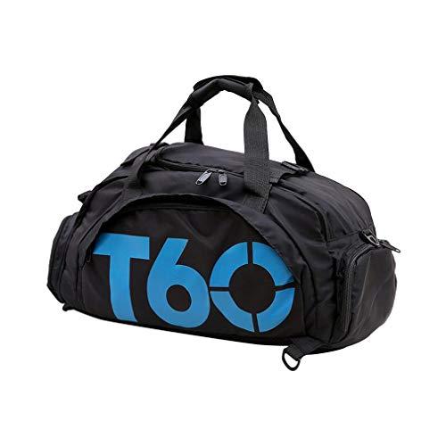 GreatWall Sac à Main Multifonction Oxford Sac à Dos Sac à bandoulière Travel Training Fitness Bag Black & Blue